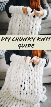 How to make a thick knit blanket - DIY Beginner's Guide ...